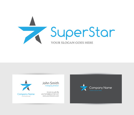 star icon: Blue star and business card design template