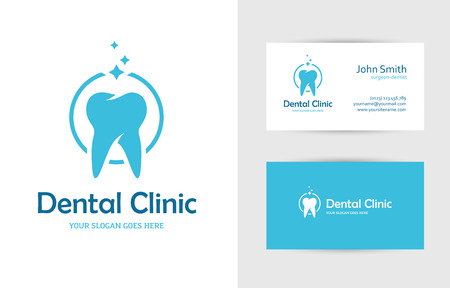 oral hygiene: Blue round with tooth and business card design template for dental clinic, dentist, teeth care or oral hygiene concept