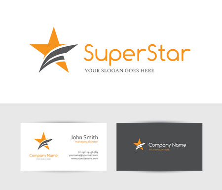 business card design: Orange star and business card design template