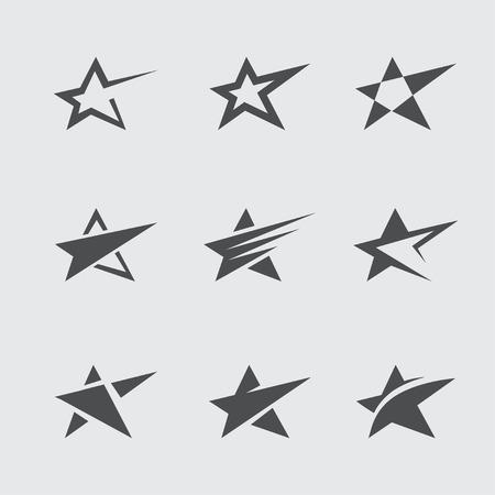 estrella: Conjunto de iconos y símbolos abstractos estrella negra