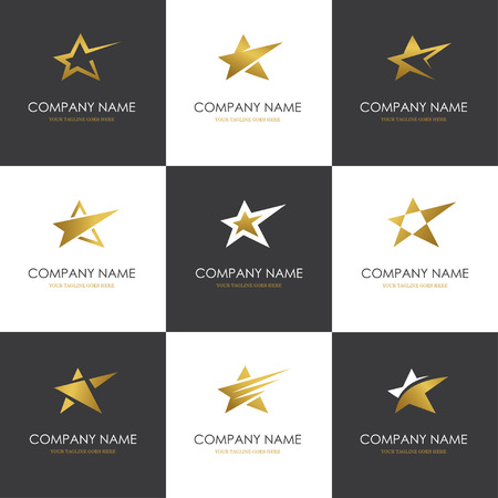 golden symbols: Set of abstract golden star icons, symbols and templates isolated on black and white backgrounds