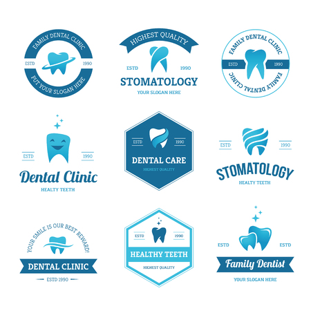 stomatology icon: Set of blue dental clinic, dentist and stomatology labels, signs and design templates with teeth icons isolated on white background Illustration
