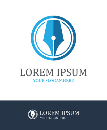literary: Modern fountain pen round icon for law firm or company, lawyer office, writer, literary or educational concept design