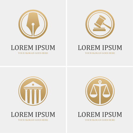 courthouse: Set of four round golden law icons with scales, gavel, fountain pen and courthouse. Can be used as design template for law firm or company, lawyer or attorney office, legal and justice concept.