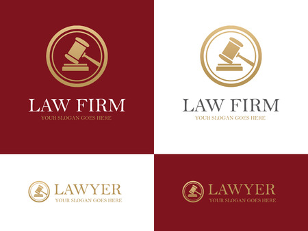 law and order: Golden gavel round icon for law firm or company, lawyer office, legal and justice concept design