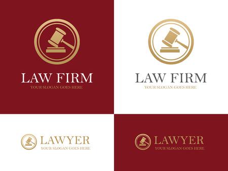 Złoty młotek okrągła ikona dla kancelarii prawnej lub firmy, biura prawnik, prawnej i sprawiedliwości koncepcji projektu Ilustracje wektorowe