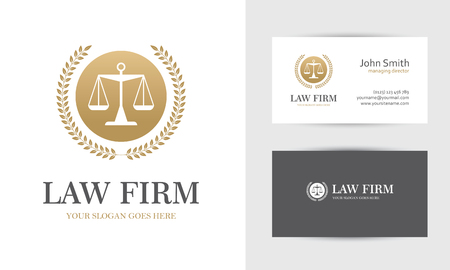 firms: Law with scales and wreath in golden colors. Business card design templates for law firm, company, lawyer or attorney office