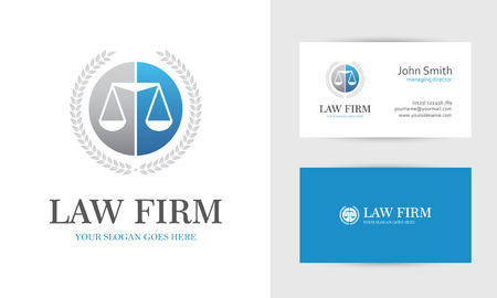 firm: Law with scales and wreath in blue and gray colors. Business card design templates for law firm, company, lawyer or attorney office