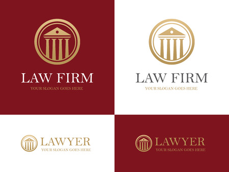firms: Golden round icon with antique building with columns. Can be used as for law firm or company, lawyer office, courthouse, university or bank design concept