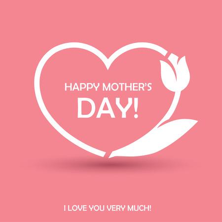 diseño feliz del día de madres con forma de corazón y flores de tulipán. Se puede utilizar como tarjeta de felicitación, o un cartel para el cumpleaños o el tema del concepto del amor Ilustración de vector