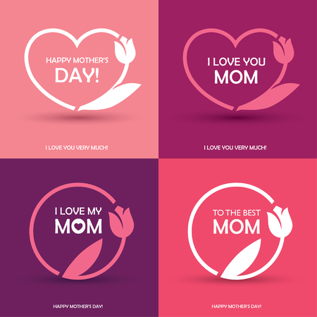 Set of four Mothers Day greeting card, or poster designs, round and heart shaped frames with abstract tulip flower in pink colors