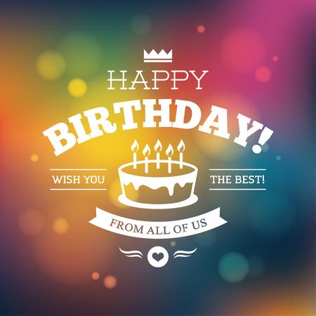 Tarjeta de cumpleaños brillante de colores, o el diseño de carteles sobre fondo borrosa resumen brillante