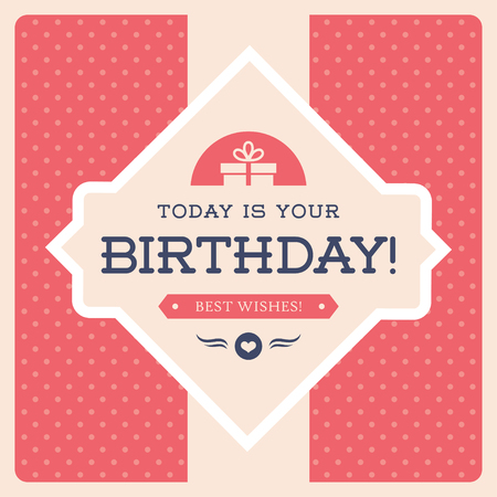 party design: Retro Birthday design for greeting card,  poster or party invitation