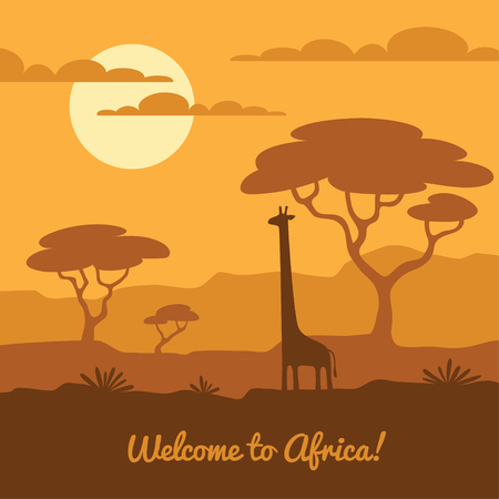 giraffe silhouette: Africa landscape illustration with cute giraffe silhouette and african trees. Can be used for touristic or banner, poster design