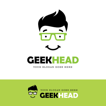 green glasses: Cute smiling geek face icon in green glasses