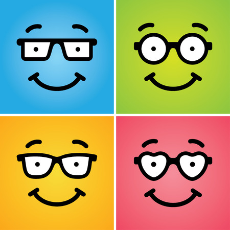 smiling faces: Four cute funny smiling geek faces in glasses of differ shapes on colorful backgrounds. Can be used as icon, or for card design concept Illustration