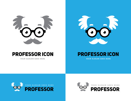 grey haired: Grey haired old man face in round glasses icon. Professor, teacher or scientist icon. Grandpas face symbol. Illustration