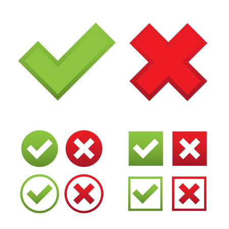 answers: Web check marks set with green ticks and red crosses in round and square shapes isolated on white background