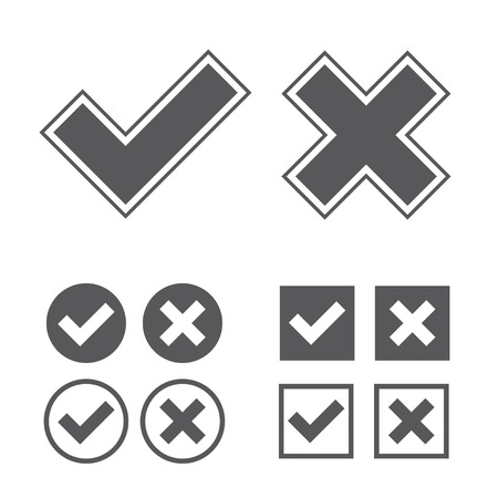 confirmed: Set of black web check marks with ticks and crosses in round and square shapes isolated on white background Illustration