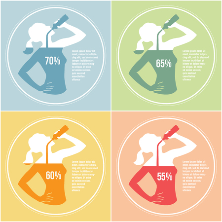 Infographics with girl silhouette drinking water and percentage of dehydration and normal water level for human body in differ color variations