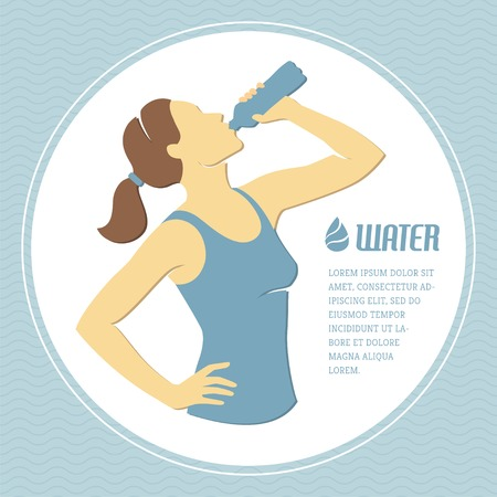 girl drinking water: Retro illustration with girl drinking water
