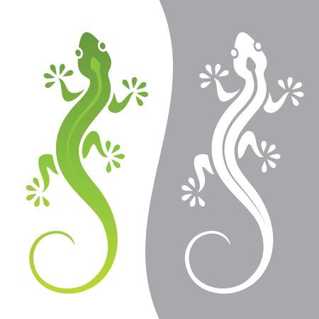 Ilustración gráfica de lagarto en variaciones de color y monocromo Ilustración de vector