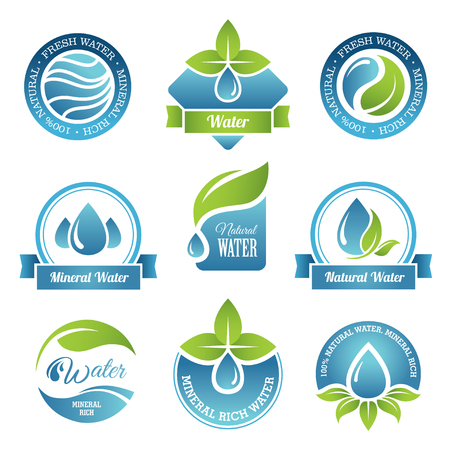 nature eco: Set of water emblems and labels in vector Illustration