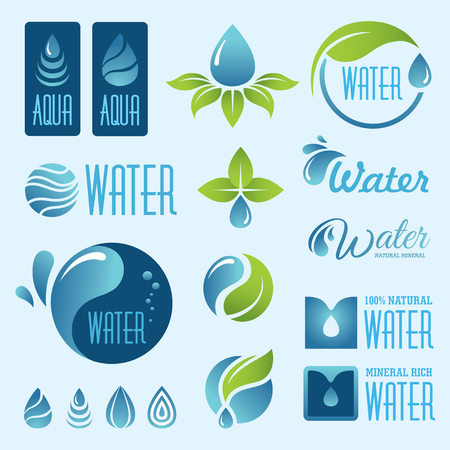 signs and symbols: Set of water signs and symbols in vector