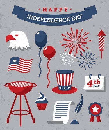Set of red, blue and white design elements for Independence Day of USA on gray background
