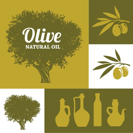 olive green: Set of olive oil signs and symbols olive tree, branch and bottles