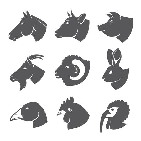Farm animals and birds icon set Vectores