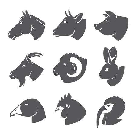 Farm animals and birds icon set Illustration