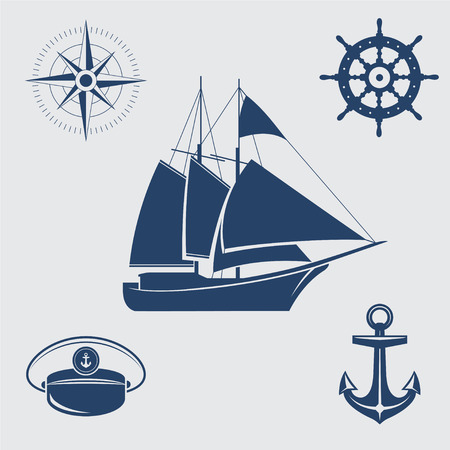 sailing yacht: Five blue sail symbols: sailing yacht, compass, steering wheel, captains cap and anchor Illustration