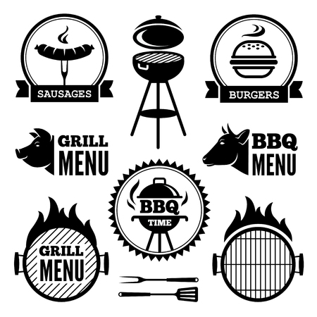 barbecue grill: Set of black grill and BBQ symbols and labels Illustration