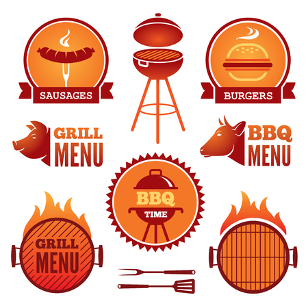 Set of colored grill and BBQ symbols and labels
