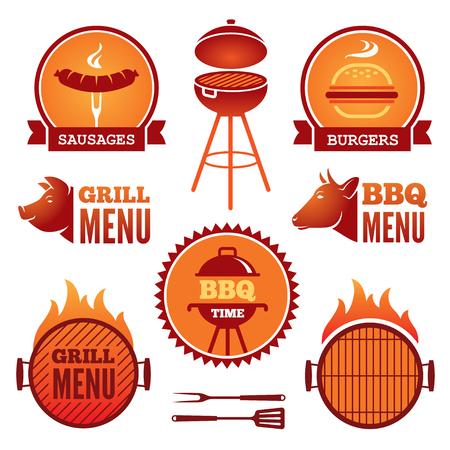Set von farbigen Grill und Grill Symbole und Etiketten