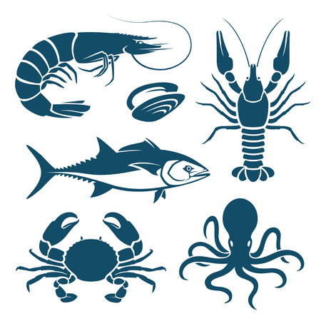set symbols: Set of blue seafood symbols