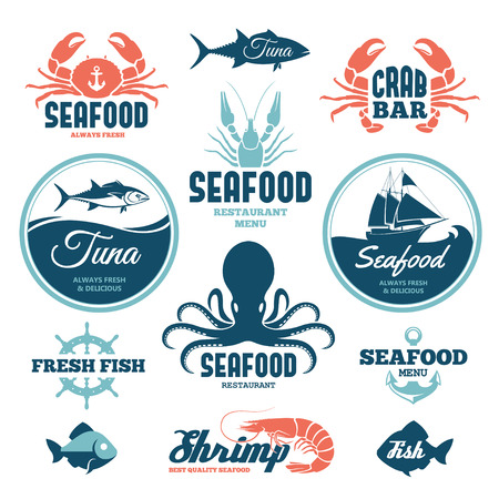 shrimp boat: Vector set of seafood labels and signs
