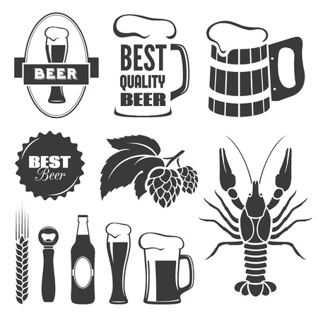 signs and symbols: Set of black beer signs and symbols in vector