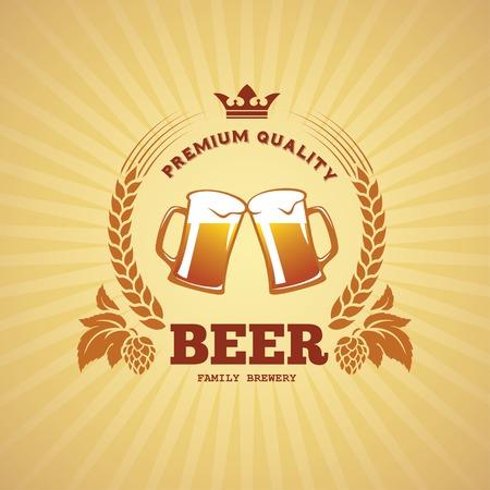 cebada: Banner con dos jarras de cerveza, el lúpulo y la cebada en el vector Vectores
