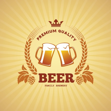 Banner with two beer mugs, hops and barley in vector