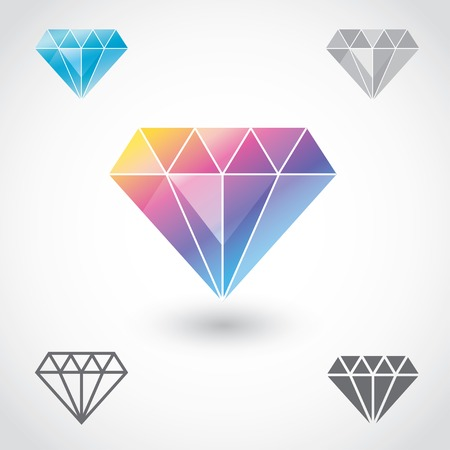 differ: Set of five differ diamond icons in vector