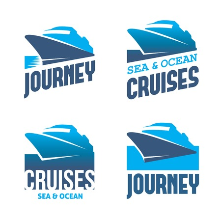 Four blue labels with stylized cruise liner in vector