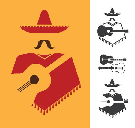hombre con sombrero: Conjunto de vector gráfico signos de mexicano con la guitarra