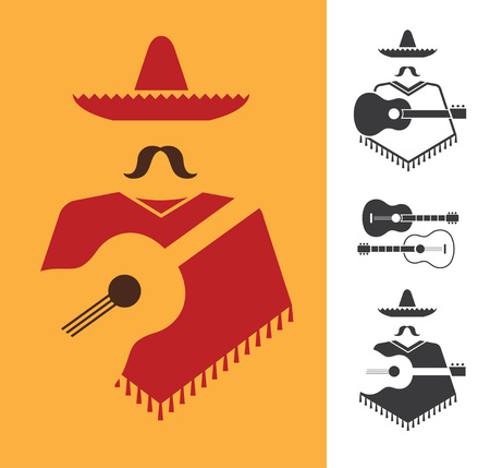 mexican culture: Set of vector graphic signs of mexican with guitar