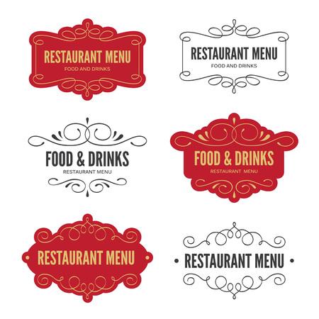 calligraphic design: Set of restaurant menu labels with calligraphic design elements
