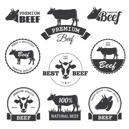vaca: Conjunto de etiquetas de la carne de vaca negro en el vector Vectores