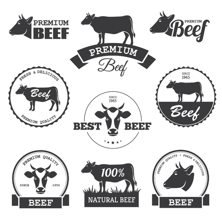Set of black beef labels in vector