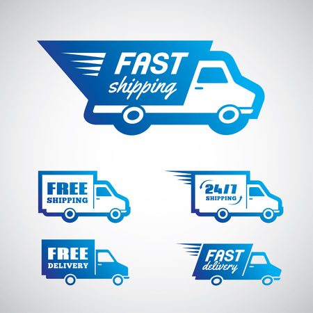 shipping: Set of blue stickers for delivery and shipping in vector
