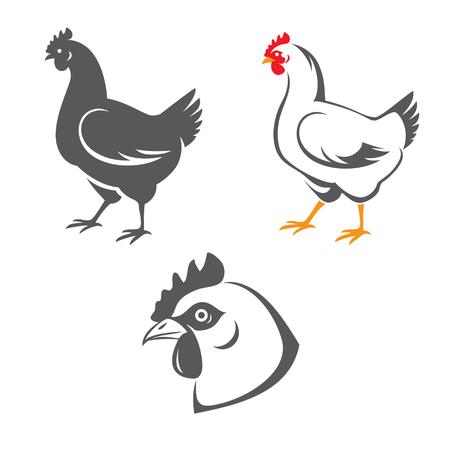 gallina con huevos: Iconos de gallina: Árbol de la cabeza y dos siluetas